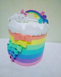 Nuevo Tin Can Crafts, Foam Crafts, Diy And Crafts, Crafts For Kids, Cloud Party, Tea Party Theme, Little Pony Party, Baby Shawer, Colorful Birthday
