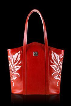 Woman handmade calfskin leather handbag. Handmade bag with ornament, leather tote bag, shopper bag. Woman handbag.