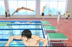 It's a little difficult not to notice Imayoshi, but just look at Aomine diving into the pool in that speedo!