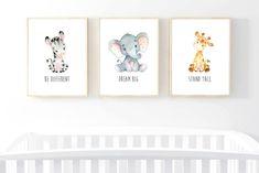 Animals Printable Nursery Art, African Jungle Animals Nursery Decor, Elephant Giraffe Zebra Wall Art, Cute Animals Nursery Art, Nursery Art, Be Different, Dream Big, Stand Tall, Printable Wall Art, Boy or Girl Art, Nursery Decoration, Set of 3, 8 x 10, 11 x 14, Instant Download