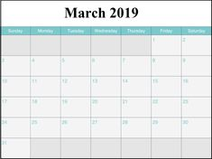 Calendrier 2019 Xls.40 Best March 2019 Printable Calendar Images In 2019