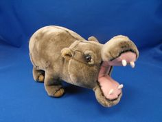 New product 'Jungle Joe Safari Friends Talking Happy Hippo' added to Dirty Butter Plush Animal Shoppe! - $8.00 - Jungle Joe's Safari Friends Plush 11 inch Gray Velour Realistic Hippo - Wide Open Pink Fleece Knit Mouth - White Fle…