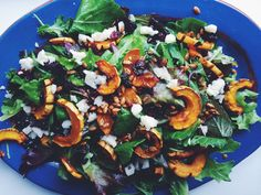 Autumn Salad with Roasted Squash, Cranberries & Spicy Sunflower Seeds