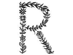 Floral Stamp Typoghraphy // Meni Chatzipanagiotou.