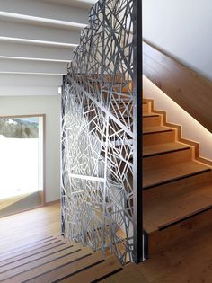 Image 9 of 30 from gallery of Chetzeron Hotel / Actescollectifs Architectes. Photograph by Thomas Jantscher Door Gate Design, Railing Design, Staircase Design, Decorative Screen Panels, Modern Fence Design, House Staircase, Village House Design, Stair Handrail, Interior Exterior