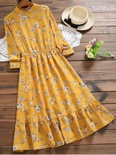 Cut Out Floral Print Flare Dress – MUSTARD If only this midi length dress had an empire waist.I love the color/ The waist on me though would be too high. Floral pattern flare dress – MUSTARD cut out Stylish Dresses, Cute Dresses, Vintage Dresses, Casual Dresses, Casual Outfits, Midi Dresses, Floral Dresses, Yellow Floral Dress, Printed Dresses