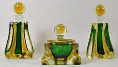Murano Art Glass Dresser Set including 2 perfume bottles and a powder/dresser box. Made by JI Co (Jordan Imports) from Italy with original label.