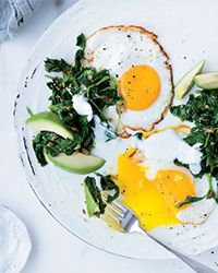 Fried Eggs with Mustard Seed Oil and Kale Recipe on Food & Wine