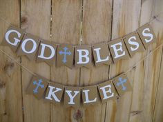 God Bless Banner - Banner For Christening, Baptism, First Communion - Can Be Made For Girl Or Boy - Personalize With Name And Color Of Cross Baptism Invitation For Boys, Baptism Invitations, Christening Banner, Baby Boy Baptism, Name Banners, First Holy Communion, Diy Party Decorations, Diy And Crafts, Blessed