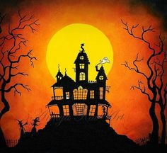 Haunted House with Ghosts Witches Graveyard by Annya Kai.