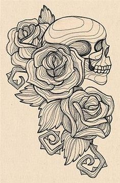 Engraved Skull and Roses_image