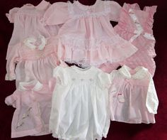 Vintage baby dresses, romper, pants, Diaper shirt Pink -Girlie Girl Lot o 7 pcs.