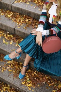 Bag: tumblr pink round skirt blue skirt pleated skirt pleated midi skirt sandals sandal heels high