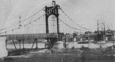 """construccion_puente_colgante_necochea  1929 – Se finaliza la construcción del puente """"EL COLGANTE"""""""