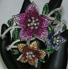 18K WHITE GOLD 15ct MULTI GEM RUBY DIAMOND SAPPHIRE FLOWER COUTURE BRACELET, $13,900.00 on ebay