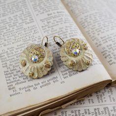 vintage earrings round earrings yellow earrings art jewelly dangle earrings drop earrings boho earring boho jewelry gift for her free ship