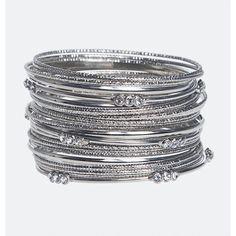 Avenue Stone Station Bangle Set (290 EGP) ❤ liked on Polyvore featuring jewelry, bracelets, plus size, silver, bangle set, bracelets bangle, avenue jewelry, bangle jewelry and stone jewellery