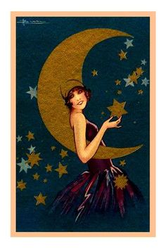 Art Deco Woman with Moon and Stars