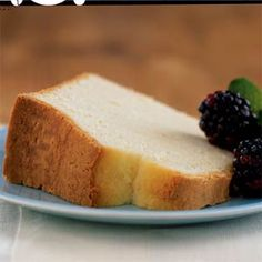 Sour Cream Pound Cake   MyRecipes.com.....This pound cake has half the fat of an old-fashioned pound cake because of the reduced amount of butter and the use of reduced-fat sour cream and egg substitute. Top a slice of this versatile cake with fresh fruit, drizzle it with fruit syrup, or sprinkle with a bit of powdered sugar. Our editors love it toasted for breakfast.