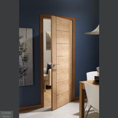 Superior American Oak veneer with horizontal grain Contemporary grooved horizontal seven panel design Engineered core construction for greater strength an. Oak Doors, Panel Doors, Contemporary Internal Doors, Flush Doors, Fire Doors, Joinery, Palermo, Tall Cabinet Storage, White Oak