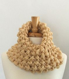 Chunky Knit Cream Twisted Infinity Cowl Scarf by AMarieKnits, $29.00
