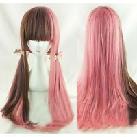 Ladys Fashion Brown Pink Ombre Hair Lolita Wig Cosplay Party Long Wavy Curly Wig
