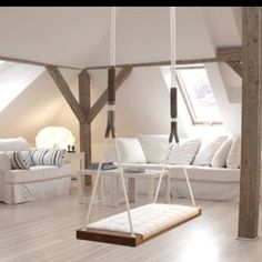 Indoor Swing - Its a little outrageous, but I have the perfect spot for this in the new house. new-house Room, Interior, Home, Apartment Interior, Indoor Swing, House Styles, Indoor Kids Swing, Interior Design, Swing Seat