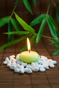 Love the candle on stones. Long counter in bathroom or on top of toilet? (Glue stones to felt.)