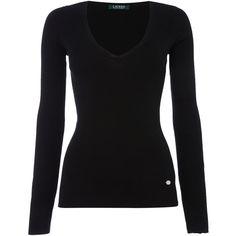 Lauren Ralph Lauren Farara v neck jumper ($99) ❤ liked on Polyvore featuring tops, sweaters, black, women, v neck jumper, v-neck tops, cotton v-neck sweater, v-neck jumper and v-neck sweater