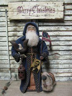 Olde Civil War Santa by Folk Artist Sue Corlett . New items available every Sunday!