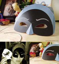 this looks familiar ^^ - Batman papercraft mask version) created by comic book artist and illustrator Kati. Batman Party, Batman Birthday, Superhero Party, Geek Crafts, Fun Crafts, Crafts For Kids, Paper Crafts, Diy Paper, Printable Halloween Masks