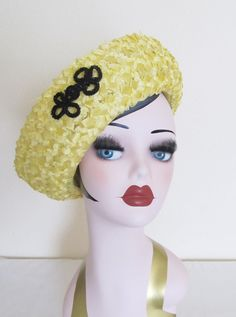 Vintage 1960's Yellow Short  Brim Hat / Yellow Straw by JLVintage, $38.00