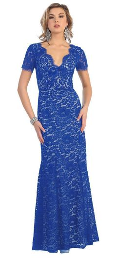 An elegant gown with a lace overlay and lace edging brings out this dress. It is a long floor length bottom with a light flare to give it the right amount of movement. Neckline : Deep Plunging V-Neck