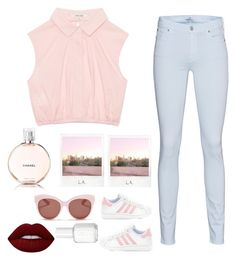 """Simple cute outfit"" by nikola-sperlikova ❤ liked on Polyvore featuring 7 For All Mankind, Polaroid, Blanc & Eclare, Lime Crime, Chanel and Essie"