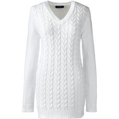 Lands' End Women's Plus Size Cable V-neck Sweater - Drifter ($35) ❤ liked on Polyvore featuring plus size women's fashion, plus size clothing, plus size tops, plus size sweaters, white, white sweater, cable-knit sweater, cable sweater, white v neck sweater and white cable sweater
