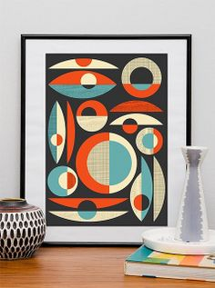 Modernist Abstract art Mid century poster Retro print by handz Décoration Mid Century, Mid Century Modern Art, Mid Century Decor, Mid Century Design, Poster Retro, Retro Print, Poster Prints, Art Posters, Modern Posters