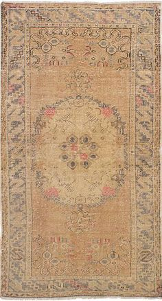 "3'4"" x 6'5"" Vintage Turkish Distressed Beige with Pink accent rug - Rug"