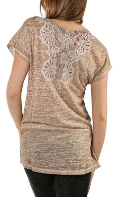Cute n Comfy Long, Tan Tee with Crochet Detail on Back