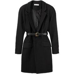Preen Kitten Coat ($833) ❤ liked on Polyvore featuring outerwear, coats, jackets, casacos, coats & jackets, women, leather belt, tie belt, slim coat and slim fit coat