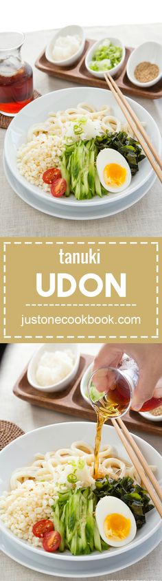 Cold Tanuki Udon (冷やしたぬきうどん)  | Easy Japanese Recipes at JustOneCookbook.com