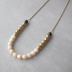 Black and Gold Beaded Necklace  Tiny Cream Black от marigoldmary, $32.00