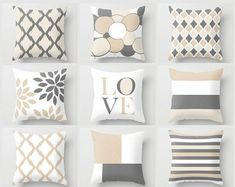 Throw Pillow Covers Geometric Home Decor Grey by HLBhomedesigns