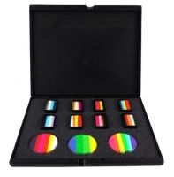 The Pro Arty Rainbow cake palette offers convenience, organization, and lots of color all in one palette. If you are having trouble organizing your rainbow and arty cakes this is the perfect palette for you. This kit will paint over 1000 faces. There's never been a better time to add some color to your life!