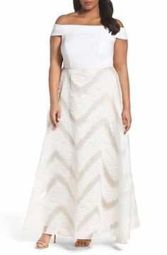 Adrianna Papell Organza and Jersey Ballgown (Plus Size)