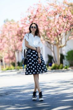 A Glimpse of Enchantment Top in White, Knot the Dots A-line Midi Skirt, Chicwish Collaboration, Polka dots skirt, dress for work, black and white, street style, Chanel boy bag, Dior so real sunglasses, STELLA MCCARTNEY Faux leather platform brogues, Stella McCartney 'Elyse' Platform Oxford, fitbit alta, fitbit collaboration, monochrome, prefall 2016 trends