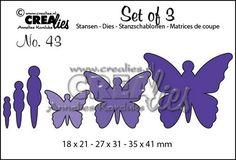 Crealies Set of 3 no. 43 Vlinders 5 18x21-27x31-35x41mm / CLSET43