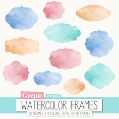 "Watercolor frame clipart: Digital frames ""WATERCOLOR FRAMES"" clip art pack with watercolour frames in four different colors"