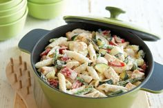 Fresh zucchini and asparagus get together with penne pasta, chicken and two kinds of cheese for a delicious way to get some veggies on the table.