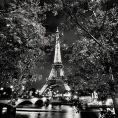 The Eifel Tower, Paris, in black and white