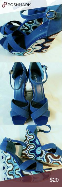 BLUE WEDGE CRISSCROSS SHOES Blue multi wedge shoes , perfect for the Glam Girlz night out. Shoes Wedges